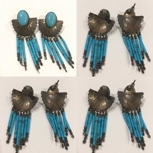 VINTAGE AMERICAN INDIAN TURQUOISE & SILVER EARRING